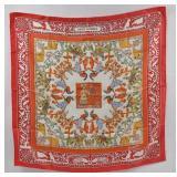 HERMES Early American Silk Scarf