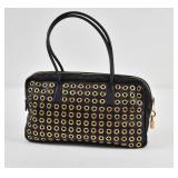 PRADA Black Napa Leather Grommet Bag