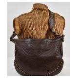 GUCCI Pelham Embossed Leather Studded Shoulder Bag