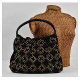 KOTUR Large Black Suede Studded Shoulder Bag