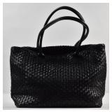 FALOR Black Woven Leather Tote Bag
