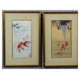 Pair of goldfish framed works