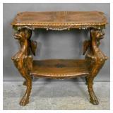 Italian Rococo style mahogany griffin-form table