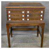 Oak spool cabinet on stand