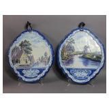 Pair of Dutch hanging porcelain plaques