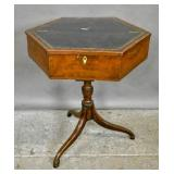 Mahogany & burl wood leather top hexagonal table