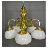 Baroque style brass 5-arm chandelier