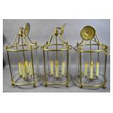 Set of 3 brass & glass hall lanterns