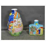 2 Italian pottery vases