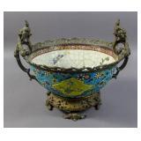 Longwy style porcelain bronze mounted bowl