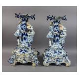 Companion pair of Meissen porcelain figural stands
