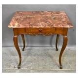 Louis XV style oak marble top side table