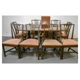Mahogany & cross banded dining table;