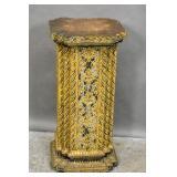 Tibetan style wood & gilt-metal pedestal