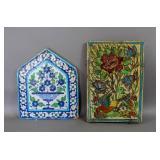 2 Persian glazed tiles