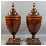 Pair of Georgian style mahogany knife urns