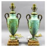 Pair of tole painted urn form lamps