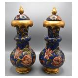 Pair of painted wood covered vases