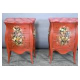 Pair of Continental Rococo style painted commodes