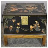 Chinese lacquer chest on stand