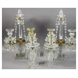 Pair of Neoclassical glass candelabra;