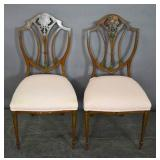 Pair of painted shield-back side chairs