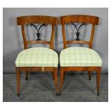 Pair of Biedermeier style upholstered side chairs