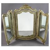 Louis XV style silvered carved wood vanity mirror
