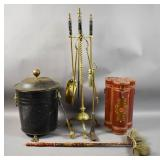 Group of brass fireplace tools