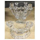 Pair of Val St. Lambert crystal candlesticks;