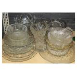 Group of clear glass serving pieces