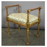 Louis XVI style gilt wood and upholstered bench