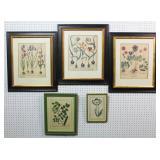Group of 5 botanical prints