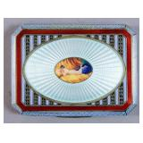 Continental silver and enamel cigarette case
