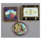 Group of enamel and gilt metal compacts