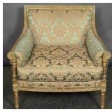 Louis XVI style gilt wood and upholstered chair