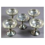 Set of 5 silver champagne coupes