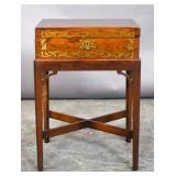 Continental rosewood & brass inlaid box on stand
