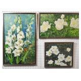 3 floral paintings