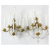 Pair of gilt-metal 6 light sconces