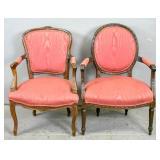 Louis XV style walnut fauteuil;