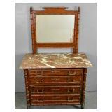 Faux bamboo mahogany dresser & mirror