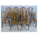Set of 6 wheel back Windsor oak armchairs;