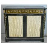 Regency style ebonized wire-door bar cabinet