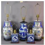 Group lot of Asian style lamps