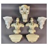 Group of 5 wall appliques and shelves
