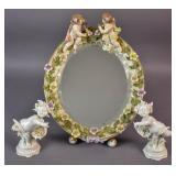 Meissen porcelain vanity mirror;