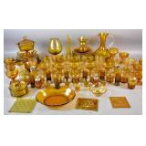 Group of amber glass table wares