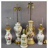 Group of 5 floral-decorated lamps