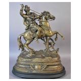 Spelter figure of Soldier on Horse